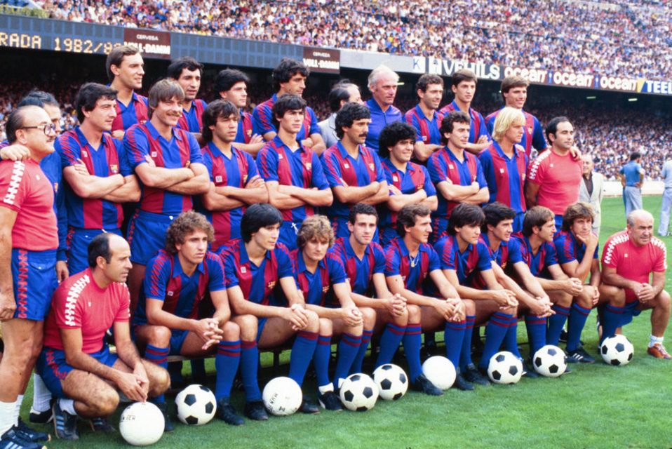FC Barcelona, team photo 1982/83 season. Notice that Allan Simonsen(front row) hadn't yet been off-loaded to Charlton Athletic. Source: Mundo Deportivo