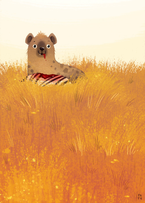 iliketoothpaste:  And here's another piece from my thesis. Happy hyena enjoying his meal in the tall grass.