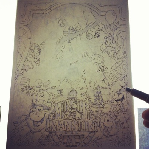 Almost done with preliminary inking on the light box.. I'll clean it up a lot afterwards