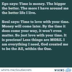 soulchildsecrets:  Love over time (every moment) = abundant living, richness. Love everything God had created for us, especially yourself. We are all we need.  http://www.whims.me/w/TFDpgKBKDmMs/r
