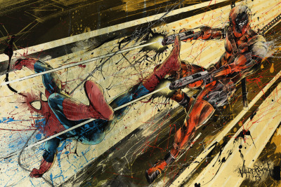 """Superhero Smackdown: Spidey vs Deadpool""  Commissioned Work.  This piece is 1/3 and last of the epic 3-piece superhero piece that I was commissioned to do. The idea behind this is to make 3 individual pieces that work on their own at the same time when put together in a certain way, comes out as one massive composition.   First two parts were my Iron Man piece http://freshdoodle.tumblr.com/post/45131590198/superhero-smackdown-iron-man-commissioned and Wolverine http://freshdoodle.tumblr.com/post/45674136637/superhero-smackdown-wolverine-commissioned =)  How this all connects together, I will be revealing soon! For now just enjoy it's absolute doodle-iciousness!  13x19"" Prints are AVAILABLE HERE  BIG CARTEL STORE - http://freshdoodle.bigcartel.comSociety6 Store - http://society6.com/freshdoodle  Website - http://www.freshdoodle.comTwitter! - http://twitter.com/thefreshdoodleFacebook - http://www.facebook.com/freshdoodleTumblr  - http://freshdoodle.tumblr.comShadowness! - http://www.shadowness.com/thefreshdoodleBehance - http://www.behance.net/freshdoodle"