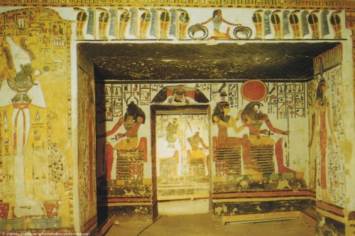 raspberryginger24:  Interior of the tomb of Nefertari, showing the God Khepri (center left, with the Scarab Beetle as head), with Osiris (far left), Ra Horakhty (with the Sun Disk), and the Goddess Neith (far right). (647k)   Khepri was associated with the scarab beetle. He was a very ancient God, worshiped since at least the 5th Dynasty. Objects resembling scarabs have been found from as early as the Neolithic period (7000 - 5000 BCE). The scarab is associated with life and rebirth, since it rolls balls of dung, from which later young scarabs emerge. Ancient lore has it that Khepri, in the form of a large scarab, rolls the large ball of the Sun along the sky.     http://guenther-eichhorn.com//egypt_khepri.html