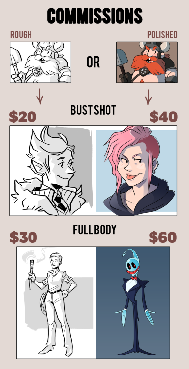 Updated my commissions info! Omitted the Line Art category  made clearer cut prices and added more examples of work. If you re-blogged before, please re-direct people to this post! Really appreciate~ Character commissions are OPEN. Please be sure to read everything below. Here's how it works: Things I am good at drawing: People, Monsters, Anthros, Chibis  Things I'm not good at, but can draw: Animals, Mechs/Robots. Things I will not draw: Porn. If you are interested, please send an e-mail to marrmeleon@yahoo.co.uk with the subject title Character Commission, detailing the following: Your name A form of contacting you, other than e-mail (e.g. Tumblr, DeviantART) The option you are picking (e.g. Colour $60 ) The drawing request (e.g. I would like a picture of my character holding a sword.) Provide an image of reference for me to work from, whether it is your own character or an established one. The payment process is as follows: I will only be accepting PayPal payments. Once your request has been accepted, I will provide you with a sketch, after which FULL PAYMENT must be sent to marrmeleon@yahoo.co.uk. I will not do any further work until full payment has been made. Please ensure that you can fulfill this requirement before placing a request.If you have any further questions, please feel free to ask me.