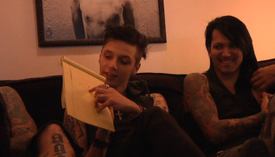 So BVB's producer asks Black Veil Brides what they want from New Years Day, and how they want to improve that song as a whole. Andy draws an eagle for his input. Good job, Andy, that's what the song needed!