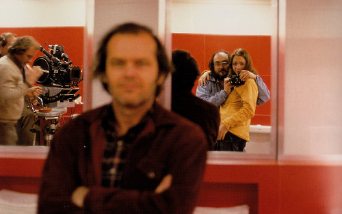 Stanley Kubrick, his daughter Vivian and Jack Nicholson on the set of The Shining (1980). (Via)