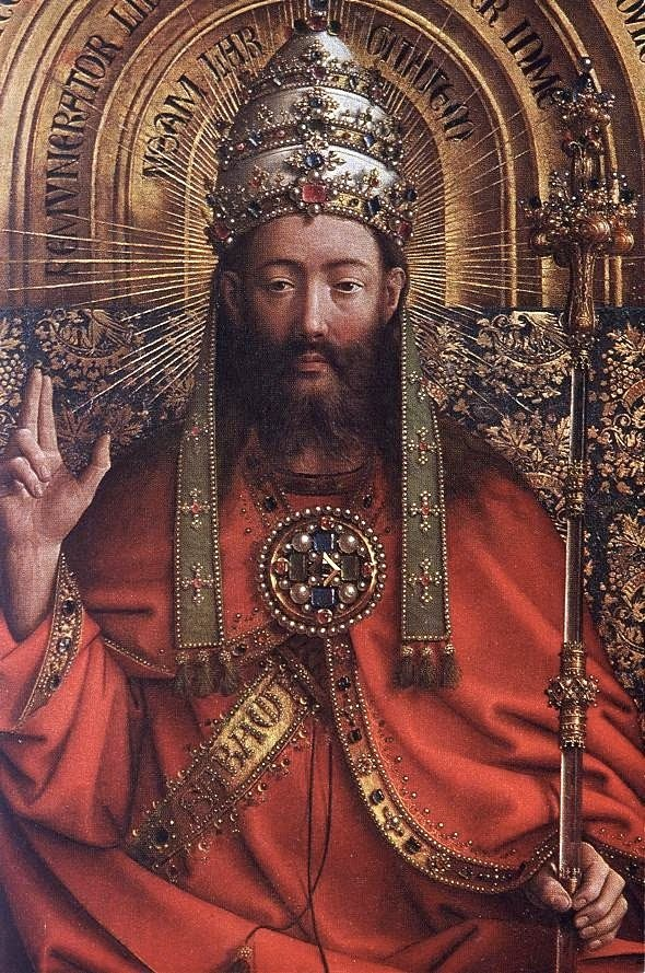 Portrait of God, Detail of the Ghent Altarpiece by Jan van Eyck {1430-1432}