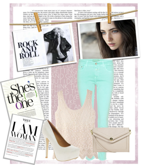 She's The One by lay-and-nisa featuring stilettos heelsJack Wills cotton shirt / Closed skinny leg jeans / New Look stilettos heels, $38 / Mischa Barton Handbags evening clutch, $60