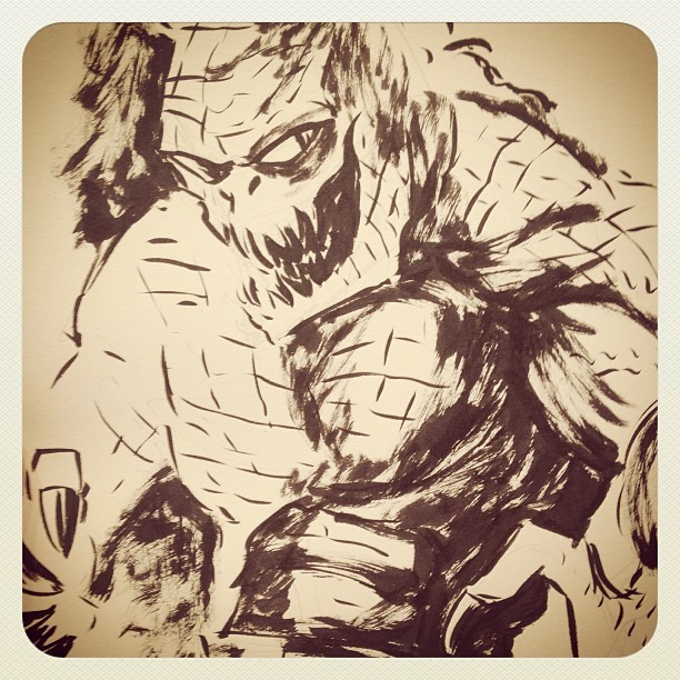 #KillerCroc #doodle at #AppleseedCominCon. Totes forgot to take pix of most commissions….