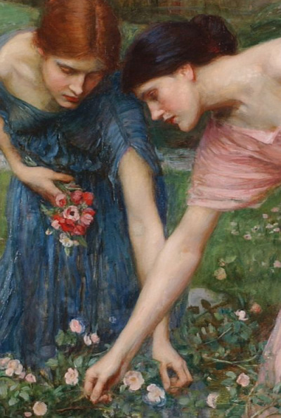 "c0ssette:  John William Waterhouse ""Gather ye rosebuds while ye may"" detail,1909."