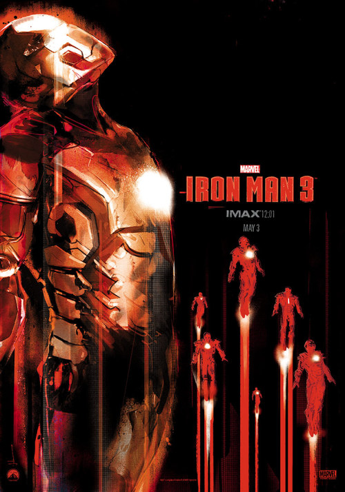 """Iron Man 3"" IMAX Poster By Jock Marvel Studios has released this wonderful IMAX poster created by Jock for Iron Man 3, the film to launch 'Phase Two' of Marvel's Cinematic Universe.  The poster itself is the latest and indeed the final part of the IMAX ""12:01"" poster series, and will be handed out to those attending the midnight IMAX screening of Iron Man 3. Iron Man 3 opens in North America May 3. [Robot6] —— Featured:    Shonen Manga Antagonists That Deserve Their Own Spinoffs Fandango: Buy Advance Tickets To Iron Man 3 Friend Us: Facebook and Twitter"