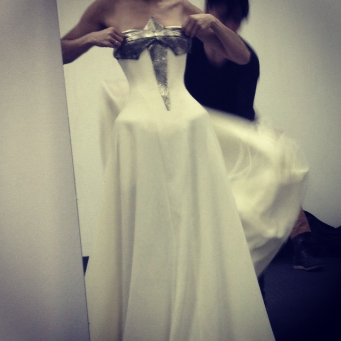 "A ""teaser"" of our in-progress Fall 2013 collection finale gown."