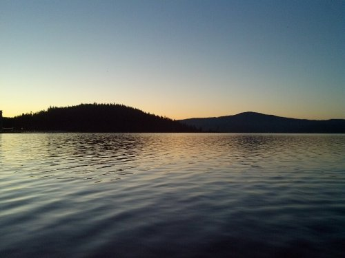 Beautiful morning view of Lake Coeur d'Alene courtesy of Charity Miler Grove Ayers. Definitely motivates us to get up and moving!
