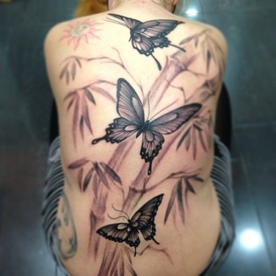 Oriental butterfly back piece by Jose Gonzalez at Ink-in Tattoo (Marbella, Spain) www.inkintattoo.com