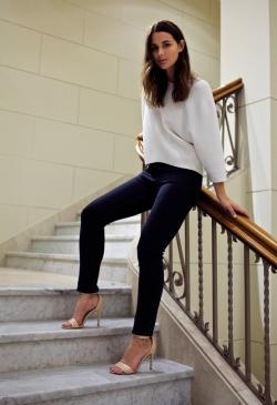 what-do-i-wear:  Cheap Monday Jeans, Bassike knit top, Senso heels. (image: harperandharley)