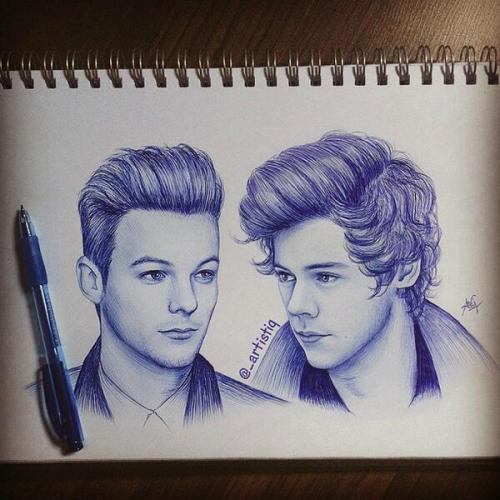 alwaysinmyheartsincerelylouis:   Sketch of Louis and Harry. Drawn with blue ballpoint pen (x)
