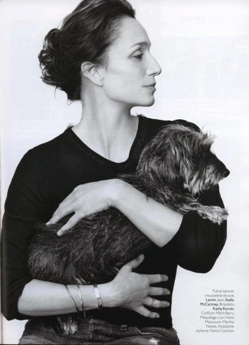 Kristin Scott Thomas and a dog
