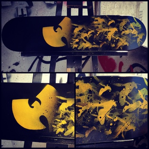 Custom painted wu-tang skate deck by me up for grabs only 2 painted $150 get at me #tattoo #tattoos #wu #wutang #thew #killabees #hiphop #oldschool #oldschooltattoo #skate #tattooartist #art #artist #painting #sparypaint #instaart #photooftheday #follow