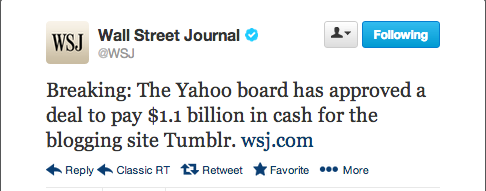 joshsternberg:  WSJ reports Yahoo board has approved a $1.1 billion deal — in cash — to purchase Tumblr.   Big news. Congrats, Tumblr!