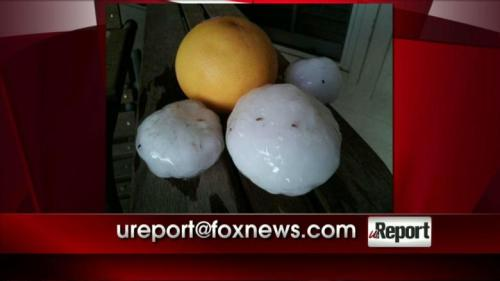 kaching:  This picture comes from a Fox News viewer and shows hail the size of grapefruit that fell near Oklahoma City, OK. (via PHOTO: Hail the Size of a Grapefruit Falls Near Oklahoma City, OK | Fox News Insider)  YIKES!