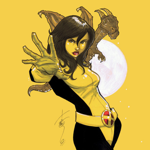 thehappysorceress:  Kitty Pryde and Lockheed by Tom Hodges