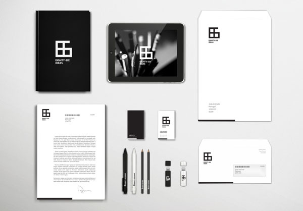 Eighty-Six Ideas Creative brand identity for Eighty-Six Ideas by João Andrade, a Lisbon, Portugal-based graphic designer specializing in branding, editorial design, graphic design. More of the brand design on WE AND THE COLOR