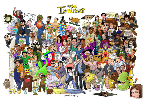 The Internet Summed Up In One Massive, Meme-tacular Poster [Click to see who every character is] Everyone that ever did anything on the Internet ever.  There's well over 100 characters in this poster. Try and guess as many as you can. We have a legend that describes each and every one just in case there was that week you went on vacation and missed an entire meme.