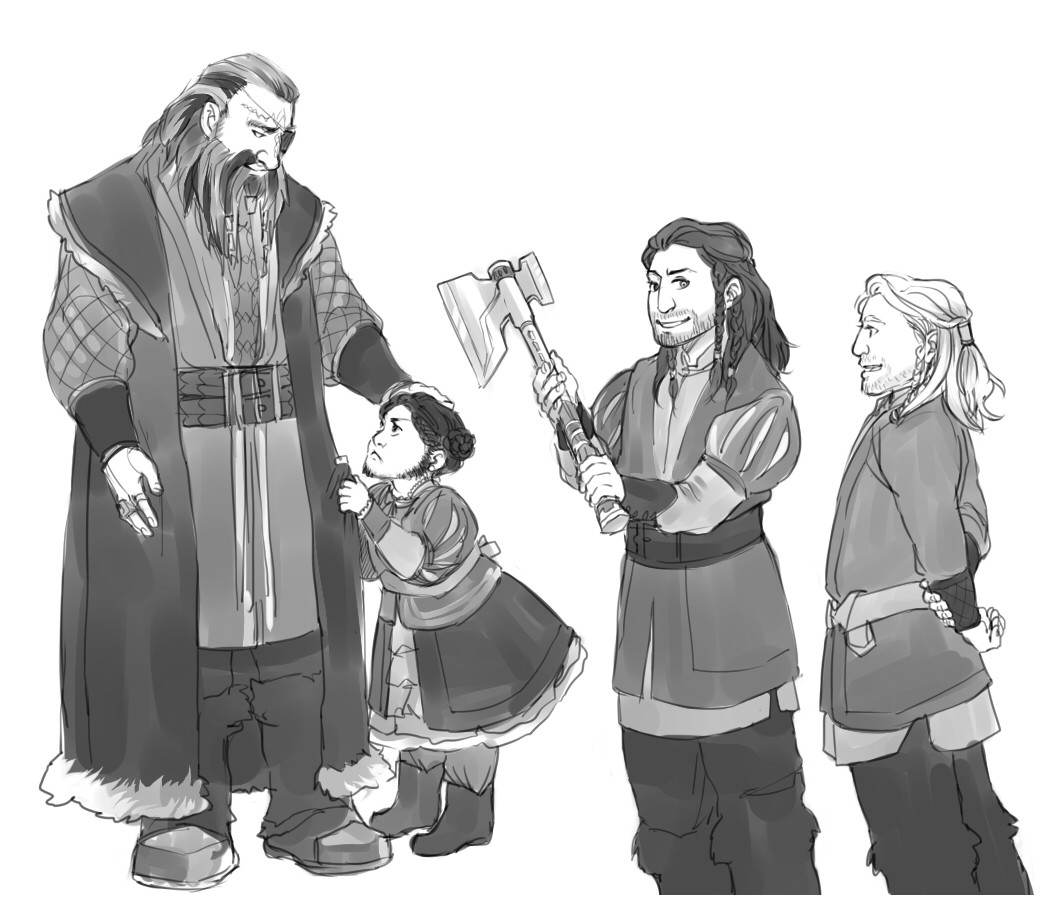 "fattybolger:  kaciart:  Stick wanted to see young!Thorin So, here he is getting his first axe. - ""Papa! Why does Thorin get an axe and I don't?!""  #YOU DREW FRERIN LIKE #FILI IS THE SPITTING IMAGE OF FRERIN?? #THORIN CARES FOR FILI SO MUCH BECAUSE HE LOOKS LIKE HIS BROTHER #AND KILI LOOKS LIKE DIS #AND HE CANT LOSE ANOTHER ONE OF HIS SIBLINGS #I CANT BRETAHE  (via sirianmckellen)"