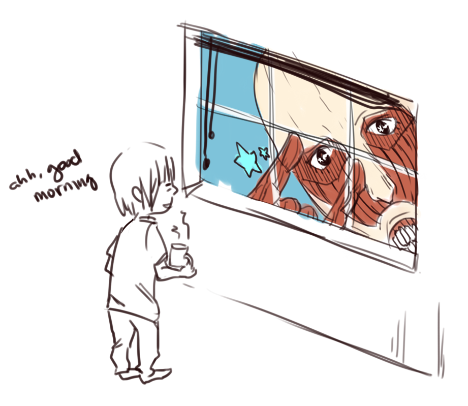misterrune:  i keep imagining kyojins popping up at my window when its open and i get freaked out might as well draw something pleasant