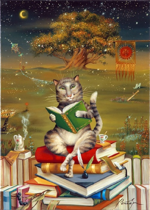 bibliolectors:  What books will read cats? / Qué libros leeran los gatos? (ilustración de Люда Реммер)
