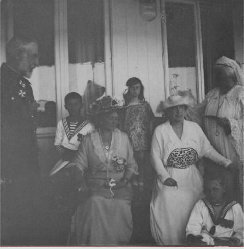 King Carol of Romania, Tsarevich Alexei, Empress Alexandra, Princess Ileana of Romania, Crown Princess Marie of Romania, Prince Nicholas of Romania, and Queen Elizabeth of Romania (Carmen Sylva) at Costanza: 1914.