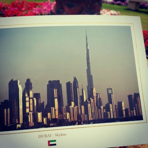 #postcard of #Dubai #UAE #skylines & #Burj_Khalifa sent to #Pakistan.  #instapostcard #instauae #instaemirates #iguae #Burj #Khalifa #BurjKhalifa #الإمارات #architecture #city #dxb #building #برج_خليفة #like #بطاقة #follow #photo #jj #دبي (at Burj Khalifa برج خليفة)