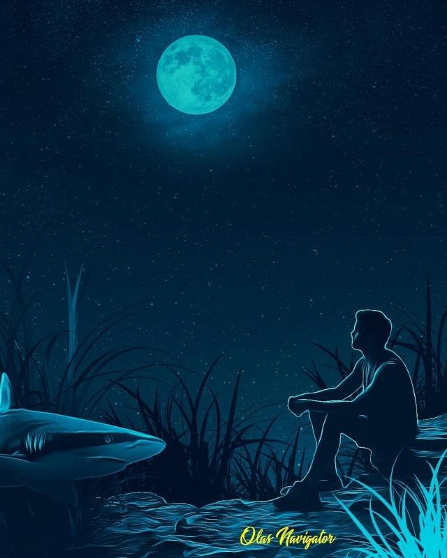 Please, stay alive! #artwork#poster design#fantasy art#shark#full moon#lonely night