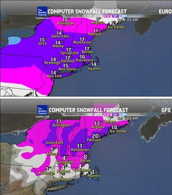 'Blockbuster' storm or light dusting? Forecasts vary for late-week Nor'easter (Photo: The Weather Channel) A major winter storm bound for the Northeast could bury Boston and surrounding areas under more than two feet of snow later this week — or not, depending on which weather forecast model is right. Read the complete story.