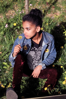 blackfashion:  Paola, 15, NY denim jacket: DIY,  Tee: Joy Division, shoes: T.U.K creepers, leggings: Ebay www.fotographedsole.tumblr.com