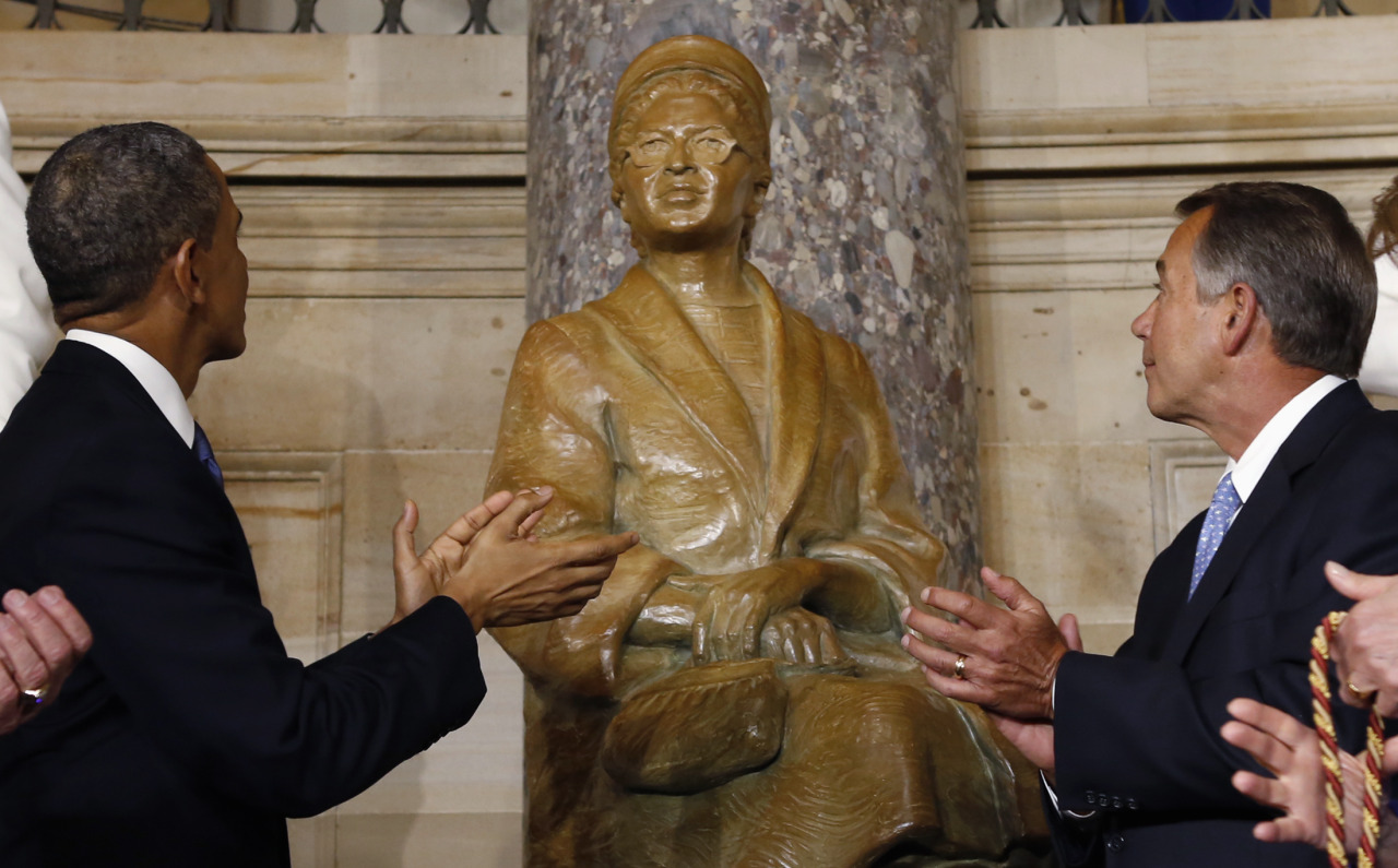 American leaders unveiled a statue of Rosa Parks on Wednesday, briefly setting aside political differences to honor the civil rights heroine, who became the first black woman to have a monument inside the U.S. Capitol. Parks' refusal to give up her seat on a segregated Alabama bus for a white passenger in 1955 sparked a boycott that galvanized the movement for equal rights for blacks in Montgomery and nationwide. Black men and women stayed off the buses, walking or arranging other rides to work for more than a year to fight for desegregation.  READ ON: U.S. leaders honor civil rights activist Rosa Parks with statue