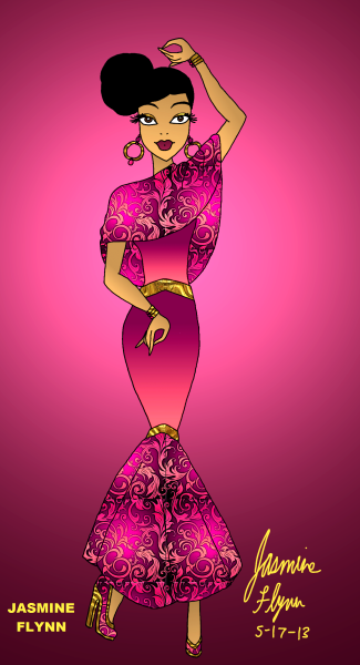 Pink and Gold Mermaid Dress. a digital drawing by me, Jasmine Flynn :)
