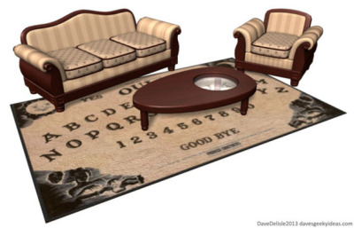 Conceptual Ouija board coffee table and rug imagined by Dave Delisle (not actually available for sale because I would be buying one)
