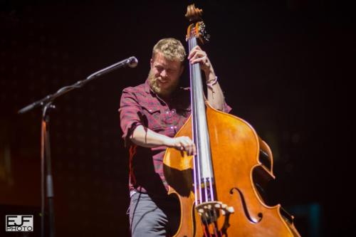 Ted Dwane of Mumford & Sons performs at the TD Garden in Boston on February 5, 2013. Photo © Edward Fritz Photography.