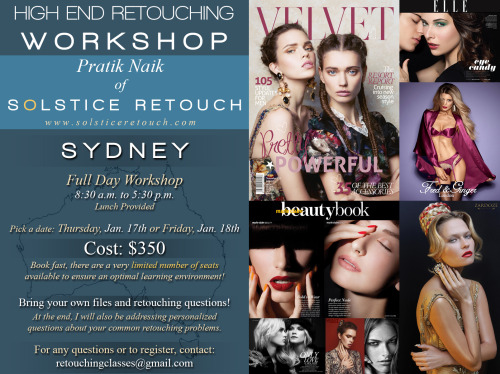 Sydney Australia Retouching Workshop!Hello friends and fans, I'll be teaching a retouching workshop in Sydney, Australia! I have just 4 seats left. I have all the details in the flyer above. If you know anyone who would be interested, do let them know asap! In case you have any questions, you can ask me directly at solsticeretouch@gmail.com or through my my awesome organizer Yen at retouchingclasses@gmail.comI would prefer that my friends get a chance first. So please spread the word, they will love you for it. Believe me, you won't want to miss this. See you all soon!