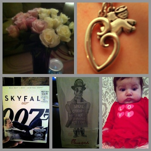 3rd Valentines day with @sal_rizo. #roses #motherslovenecklace #skyfall #chickfila #baileelove #perfection ❤❤❤