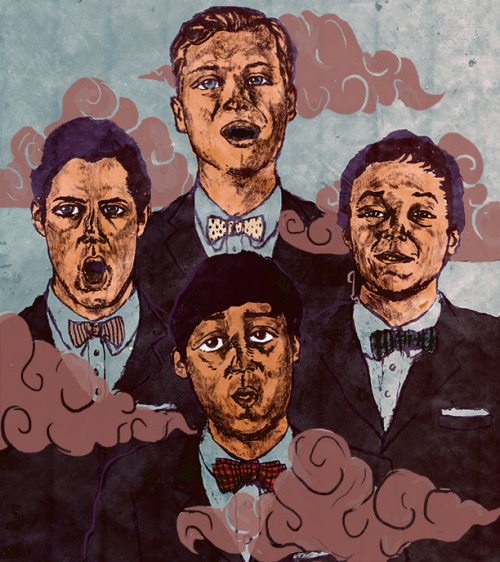 Portrait of Grizzly Bear portrayed as a modern day doo-wop group.