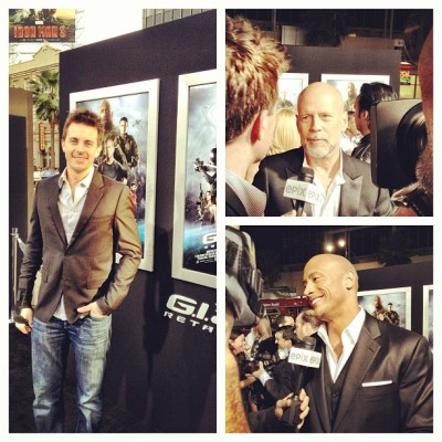 #GIJoeRetaliation premiere #BruceWillis wants to take on @Schwarzenegger but not @TheRock. #ChildhoodHeroes #ThankYou!!!
