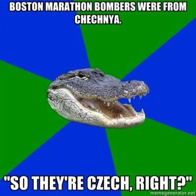 fuckyeahgeographyalligator:  It's so bad that the Czech Embassy in the US had to put out an official statement explaining that Chechen does not mean Czech. Submitted by MostlyWibbly. Thanks! Also included in the submission was a link to this site on North American accent distribution, which is also linked to on this (very old) post of my own.