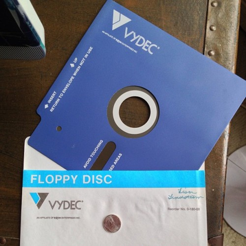 If you've been looking for a floppy disk the size of a laptop, I can hook you up. (Nickel on cover for scale.