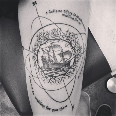 "Done by Jason at Alchemy Tattoo in Los Angeles, CA USA""I believe there is another world waiting for us. A better world, and I'll be waiting for you there"" - Cloud Atlas"
