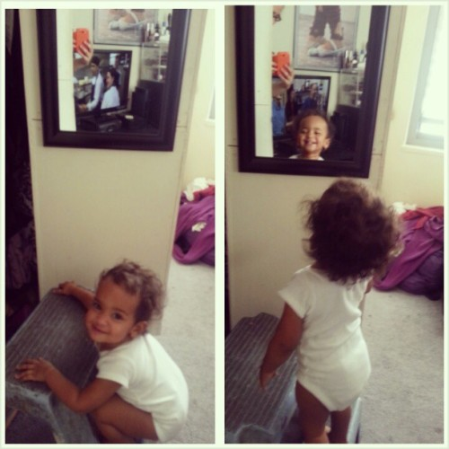 #Sophia playing #peekaboo with herself in Titi @bxlocbeauty room lol #crazy #girl #mirror  (at Co-op city building 18)