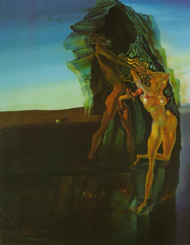 Sunday Dalí: Untitled (William Tell and Gradiva), 1931. Oil on canvas.  William Tell usually represents Salvador Dalí's father, while Gradiva was Dalí's nickname for Gala. That information alone is enough for one to read this painting in many different ways.