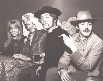 thelovelymaureen:  January 8, 1967 - Newly blonde Maureen with three Beatles at the fancy dress party Georgie Fame hosted for his fiancee, Carmen Jimenez's, 21st birthday.