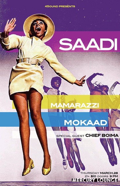 4Sound Presents Saadi @ Mercury Lounge New York, NY - March 28th, 2013, DJ set in support of Saadi show