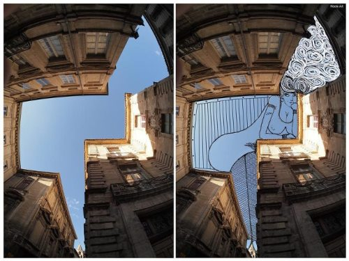 Outstanding SkyArt by Thomas Lamadieu: Fun Doodles Drawn Into Photographs of Sky -